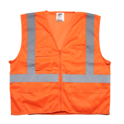 Mesh Vest w/4 Pockets & Heavy Duty Zipper - Orange