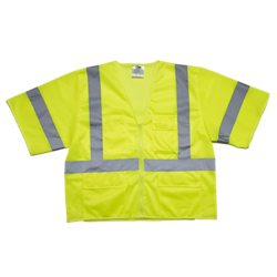 Mesh Vest w/4 Pockets & Heavy Duty Zipper - ANSI Class 3