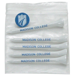 Golf Tee Polybag Combo Pack with (5) 3 1/4 Inch Tees, and (1) Ball Marker
