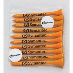 Golf Tee Polybag Combo Pack with (10) 2 3/4 Inch Tees and (2) Ball Marker