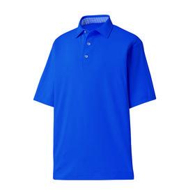 footjoy prodry performance solid lisle shirt - self collar - royal & royal/white