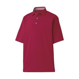 footjoy prodry performance solid lisle shirt - self collar - crimson & crimson/white