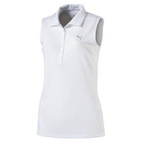 puma womans pounce sleeveless polo - bright white