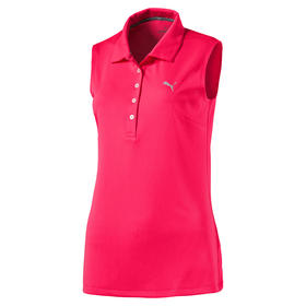 puma womans pounce sleeveless polo - bright plasma