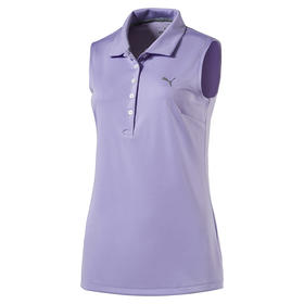 puma womans pounce sleeveless polo - purple rose