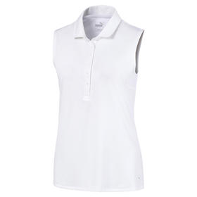 puma women's rotation sleeveless polo - bright white