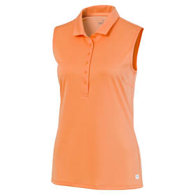 puma women's rotation sleeveless polo - cantaloupe