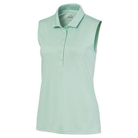 puma women's rotation sleeveless polo - mist green