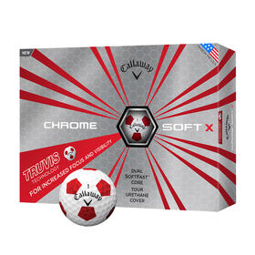 callaway chrome soft x truvis - white and red