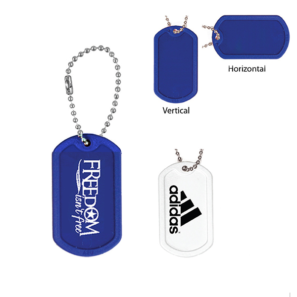 "Plastic Dog Tag with 4 1/2"" Ball Chain- Closeout"