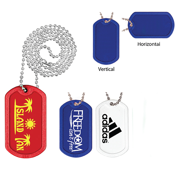 "Plastic Dog Tag with 23-1/2"" Ball Chain- Closeout"