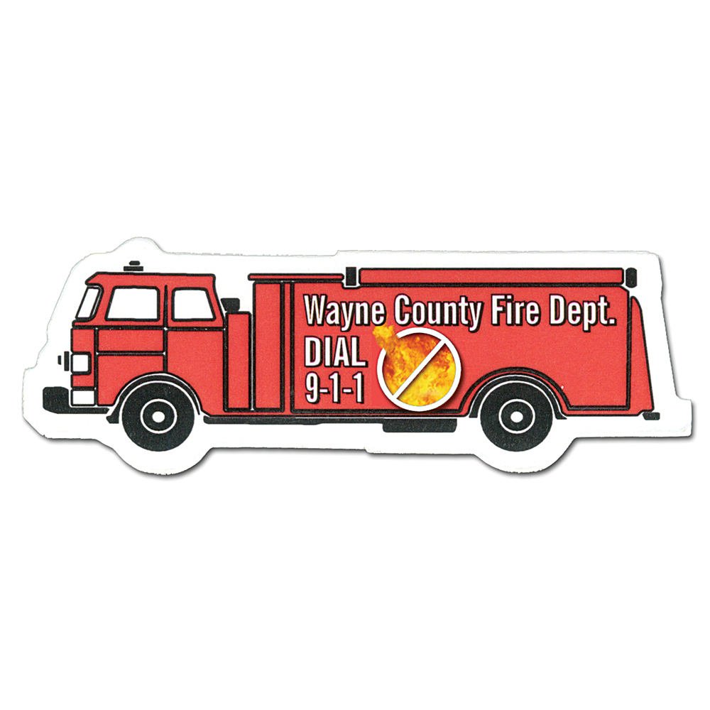 Full Color Digital Stock Shaped Magnets - Fire Truck