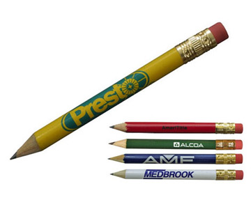 Round Golf Pencil with Erasers
