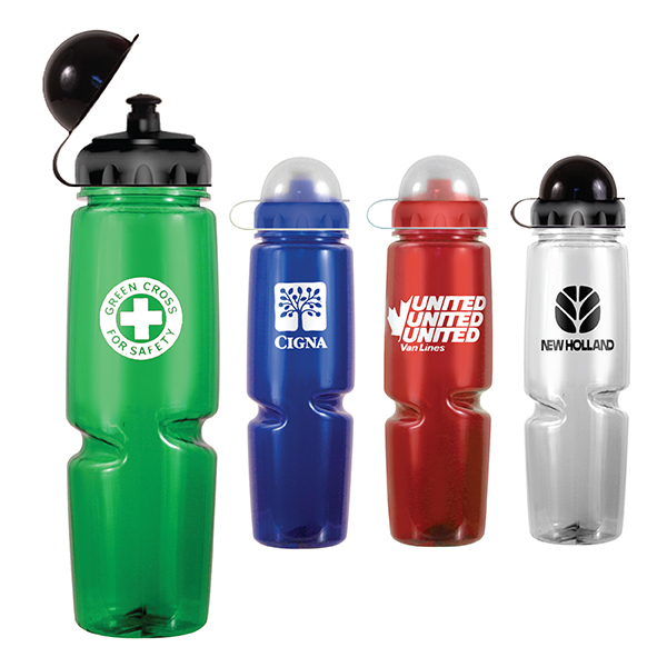 24 oz. Poly-Saver Twist Bottle with Push 'n Pull Cap and Dome Lid - Closeout
