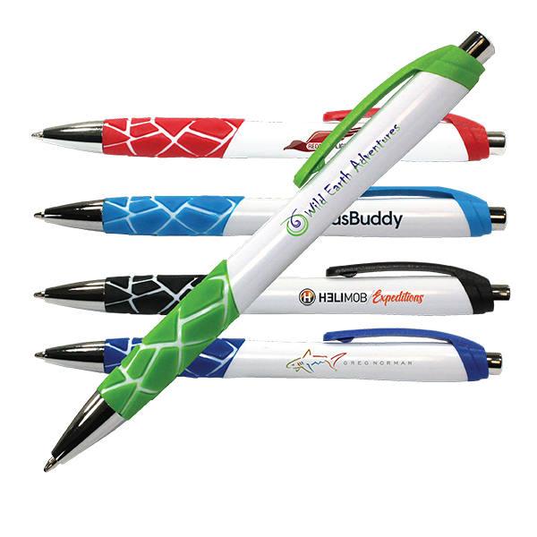 White Geo Grip Pen, Full Color Digital