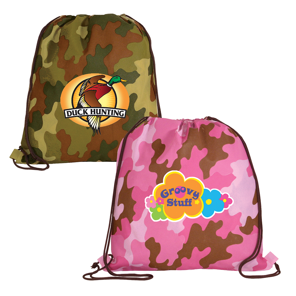 NW Camo Drawstring Backpack, Full Color Digital