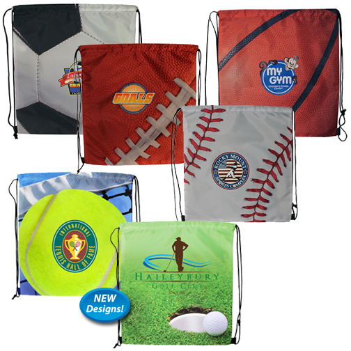Sports Style Drawstring Backpack, Full Color Digital