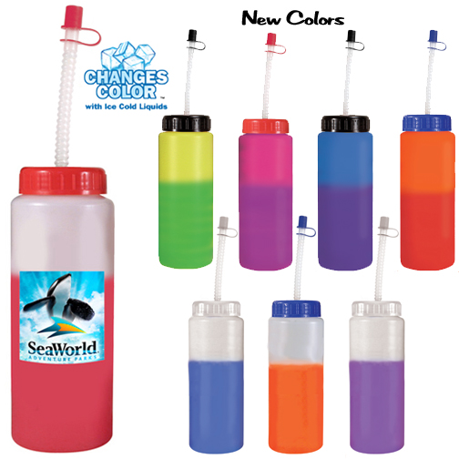 32 oz. Mood Sports Bottle With Flexible Straw, Full Color Digital