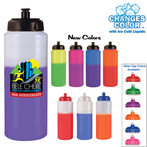 32oz. Mood Sports Bottle With Push'nPull Cap, Full Color Digital