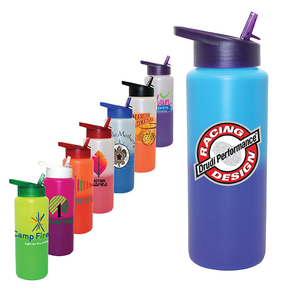 32oz. Mood Sports Bottle With Straw Cap Lid, Full Color Digital