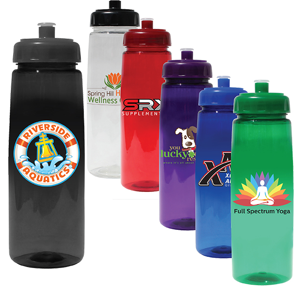 30 oz. Poly-Saver PET Bottle with Push 'n Pull Cap, Full Color Digital