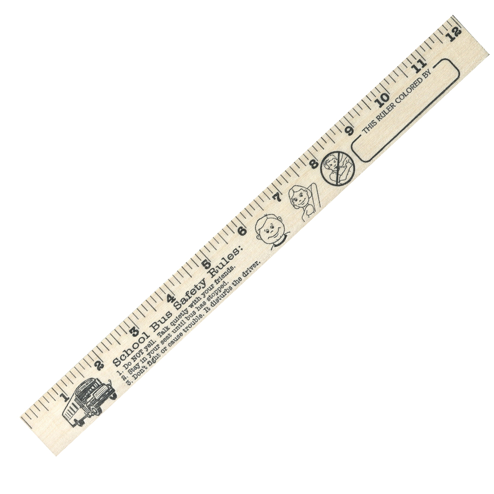 "School Bus Safety  ""U"" Color Rulers - Natural wood finish"