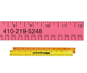 "12"" Fluorescent Wood Ruler - English & Metric Scale"