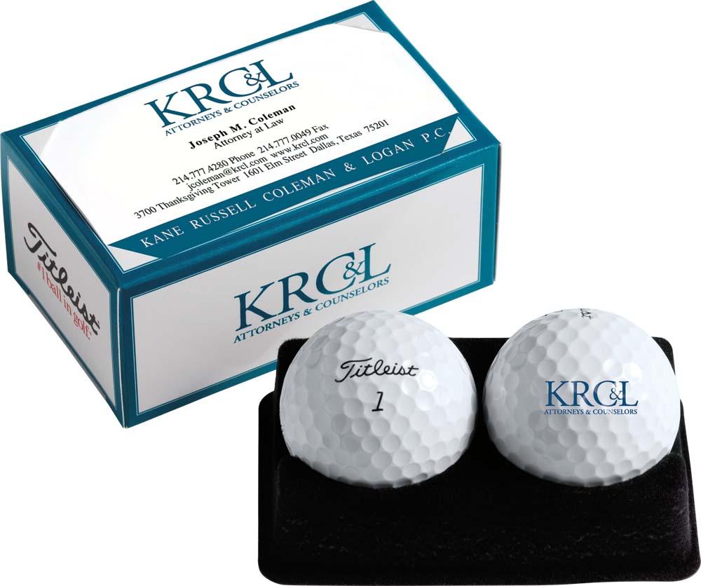 Titleist Custom 2-Ball Business Card Box with Tour Soft Golf Balls