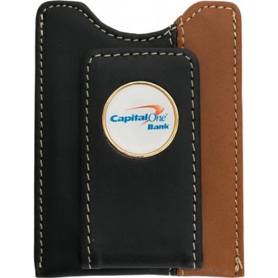 Two Tone Leather Money Clip Wallet