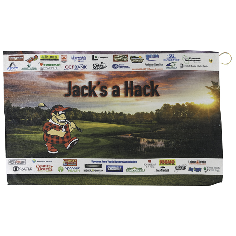 "15"" X 24"" Full Color Microfiber Super Soft Towel With Hook & Grommet"