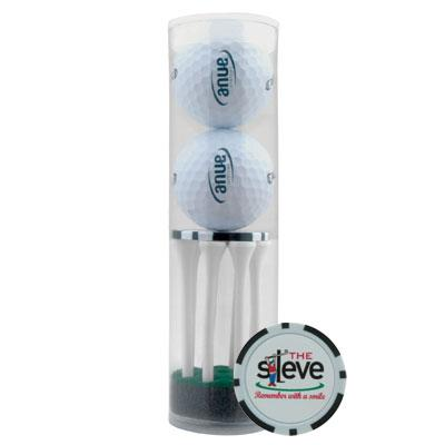 2 Ball Tube With Poker Chip Ball Marker And 8 Tees