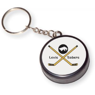 Mini Hockey Puck Key Chain with Decal
