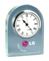 """Acrylic Desk and Mantle Clock w/ Dome Frame (3""""x 4""""x 3/4"""") (Screen Printed)"""