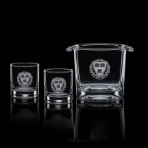 Aristocrat Ice Bucket with 2 On The Rocks Glasses
