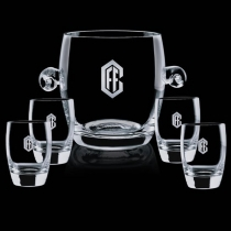 Crystal Belfast Ice Bucket and 4 On the Rocks Glasses
