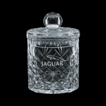 24 Oz. Small Medallion Crystal Barrel Jar & Lid