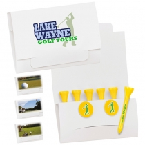 "6-2 Golf Tee Packet w/ 2 Ball Markers - 2 3/4"" Tees"