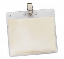 Horizontal Vinyl Pouch with Bulldog Clip