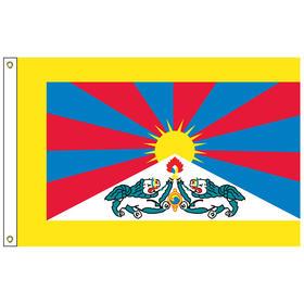 tibet 3' x 5' outdoor nylon flag w/ heading & grommets