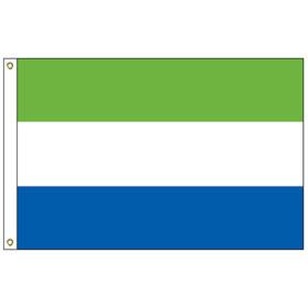 sierra leone 6' x 10' outdoor nylon flag w/heading & grommet