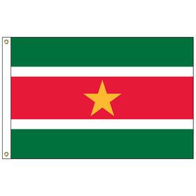 suriname 6' x 10' outdoor nylon flag w/ heading & grommets