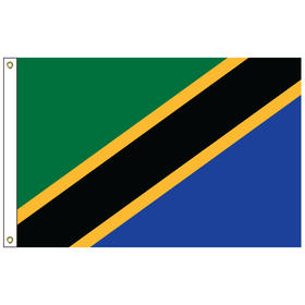 tanzania 6' x 10' outdoor nylon flag w/heading & grommets