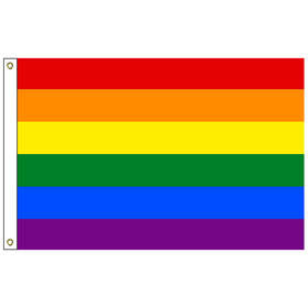 "rainbow 12'' x 18"" nylon outdoor flag with heading and grommets"