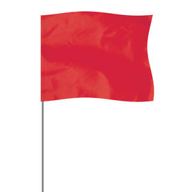 "red 4"" x 5"" marker flag on a 36"" wire"