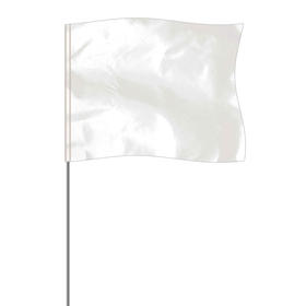 "white 4"" x 5"" marker flag on a 36"" wire"