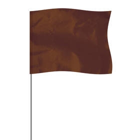 "brown 4"" x 5"" marker flag on a 36"" wire"