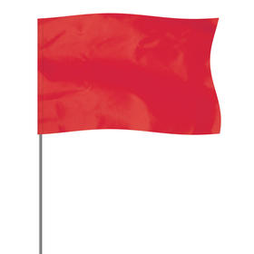 """red 5"""" x 8"""" marker flag on a 36"""" wire"""