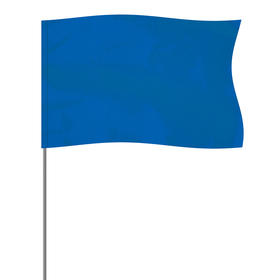 """blue 5"""" x 8"""" marker flag on a 36"""" wire"""