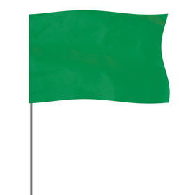 """green 5"""" x 8"""" marker flag on a 36"""" wire"""