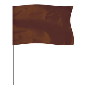"""brown 5"""" x 8"""" marker flag on a 36"""" wire"""